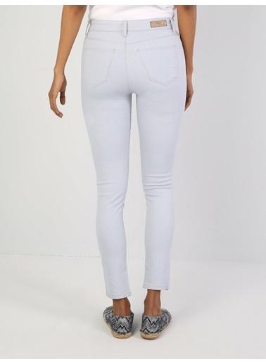 Colin's Super Slim Fit Kadın Beyaz Pantolon Mavi